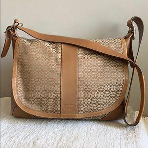Coach Brown Tan Leather trim Messenger bag